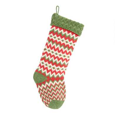 Red and Green Zigzag Knit Christmas Stocking