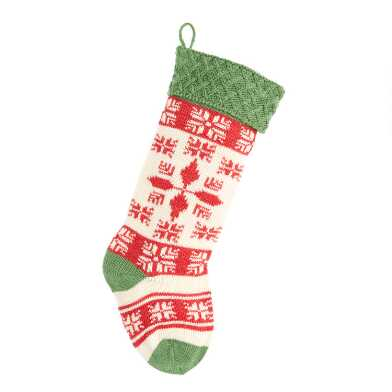 Red, Cream and Green Snowflake Knit Christmas Stocking