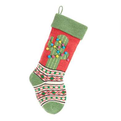 Red and Green Cactus Knit Christmas Stocking