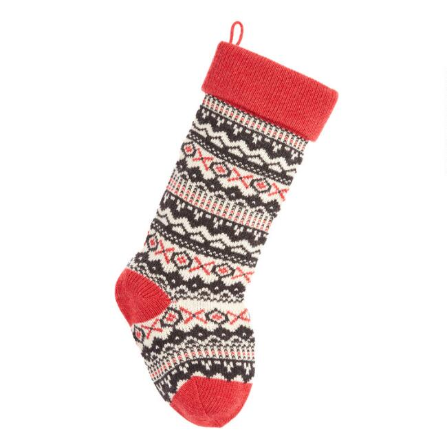 Red and Black Fair Isle XO Knit Christmas Stocking