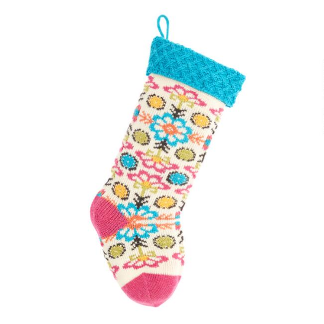 Multicolored Retro Floral Knit Christmas Stocking