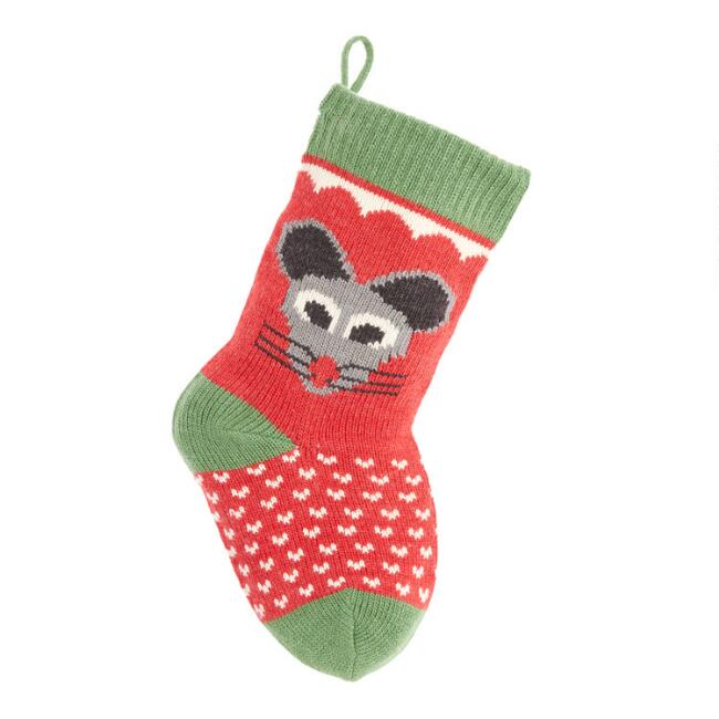 Mouse Knit Cat Christmas Stocking
