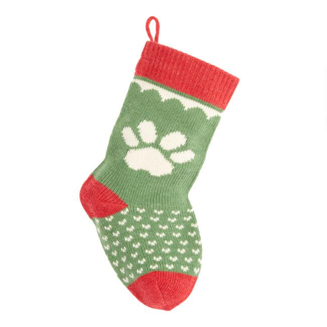 Paw Print Knit Dog Christmas Stocking