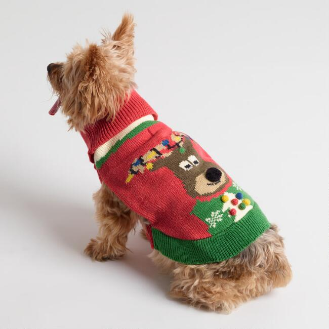 Small Reindeer Knit Dog Sweater
