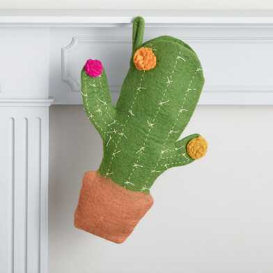 Cactus Shaped Felted Wool Christmas Stocking