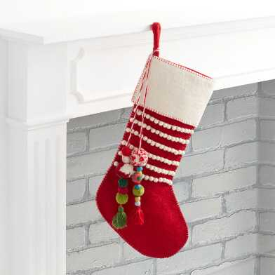 Red Felted Wool Christmas Stocking with Pom Pom Tassels