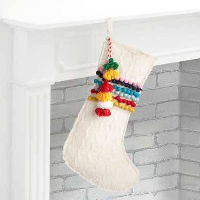White Sweater Pom Pom Christmas Stocking