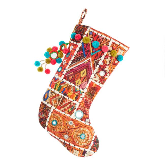 Multicolor Sari Patchwork Christmas Stocking