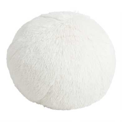 Round White Snowball Throw Pillow