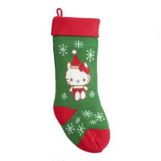 Red and Green Hello Kitty Knit Christmas Stocking
