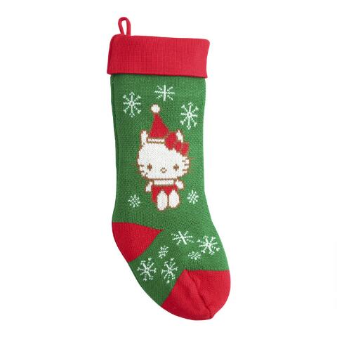 Knit Christmas Stockings.Red And Green Hello Kitty Knit Christmas Stocking