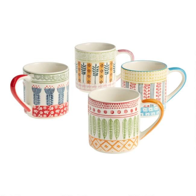 Hand Painted Geometric Floral Mugs Set Of 4