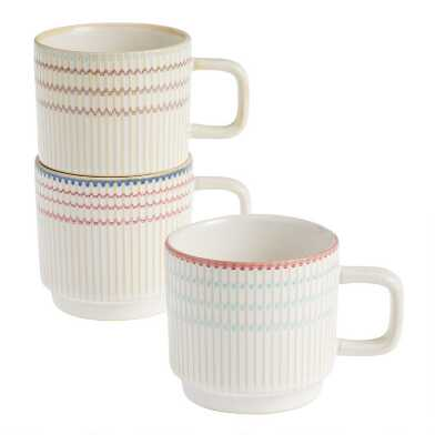 Berry, Aqua and Gray Textured Lines Stacking Mugs Set Of 3