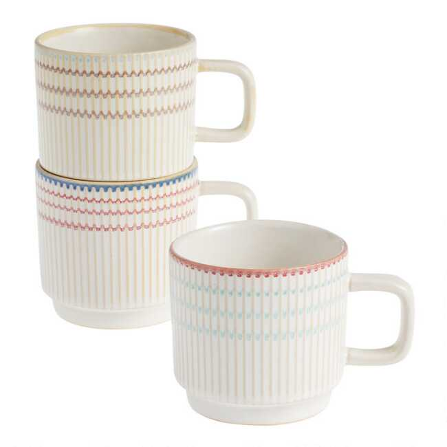 And Lines Mugs Textured Set BerryAqua Stacking Gray Of 3 4RAjL5