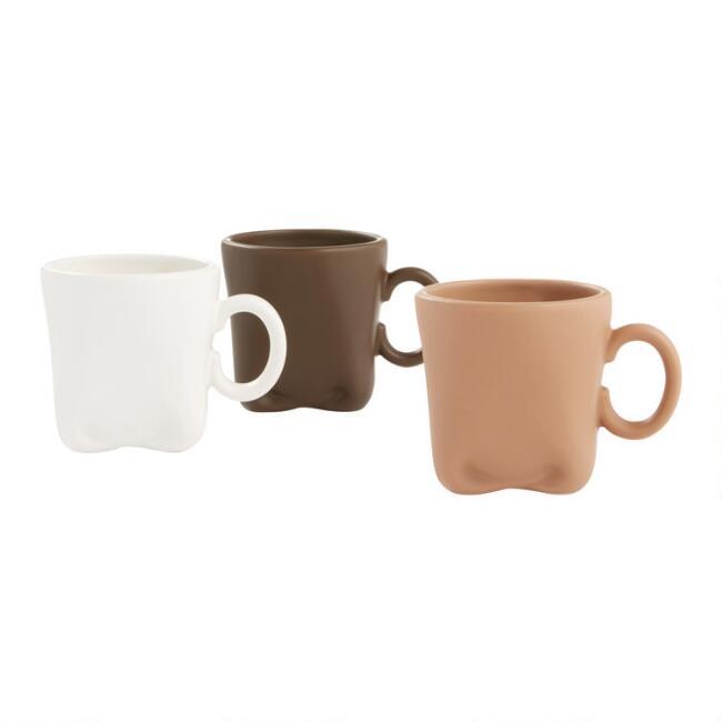 Folded Cappuccino Mugs Set Of 3
