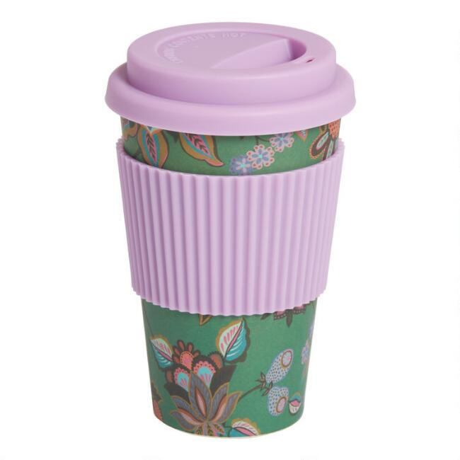 Green And Purple Floral Bamboo Fiber Travel Not A Paper Cup