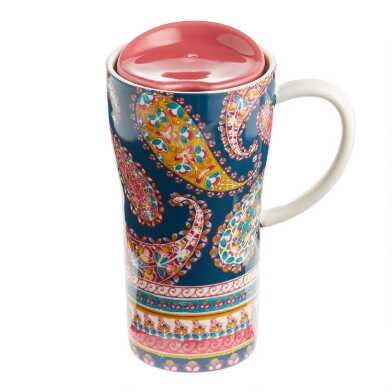 Paisley Porcelain Travel Not A Paper Cup with Handle