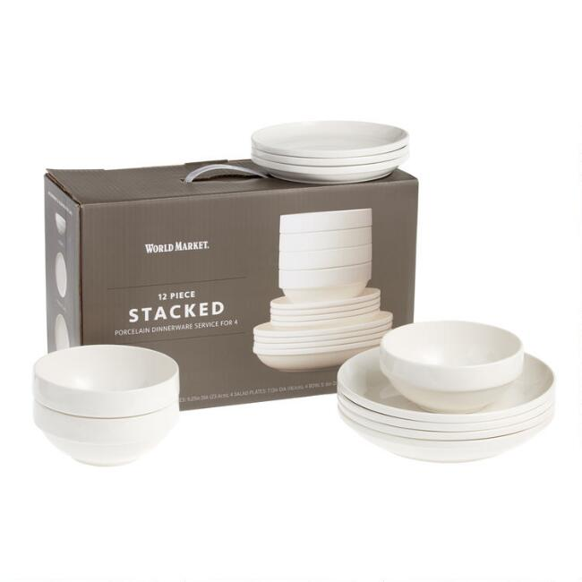 Natural White Porcelain Stacked 12 Piece Dinnerware Set