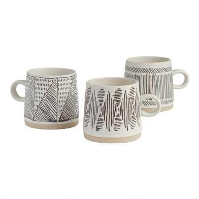 Black And White Wax Resist Geometric Mugs Set Of 3