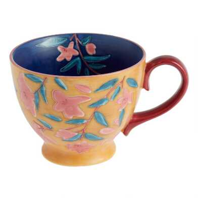 Matte Blue And Golden Yellow Hand Painted Floral Mug