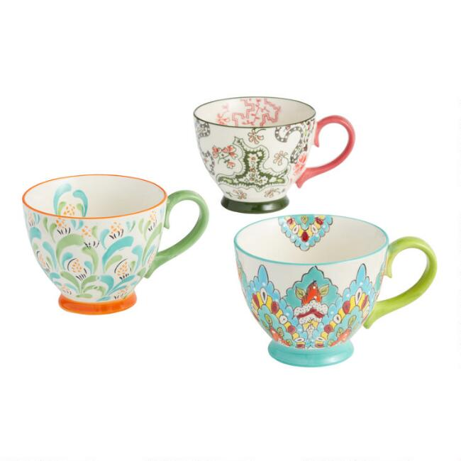 Multicolored Hand Painted Floral Mugs Set Of 3