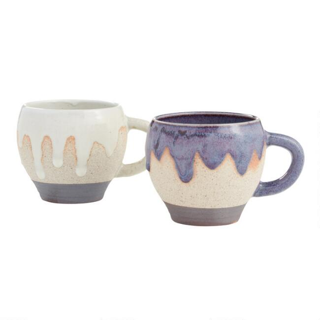 Drip Striped Reactive Glaze Mugs Set Of 2