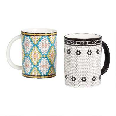 Multicolored Mosaic Mugs Set Of 2