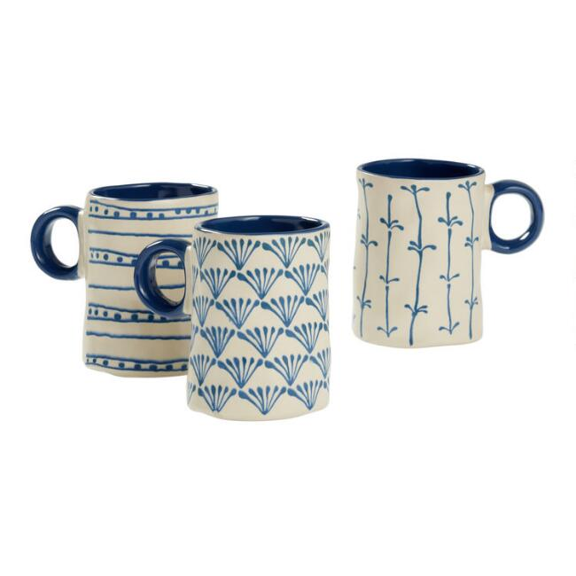 Indigo Twiggie Organic Mugs Set Of 3
