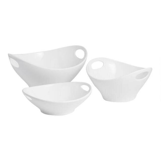 Shallow White Ceramic Serving Bowl with Handles