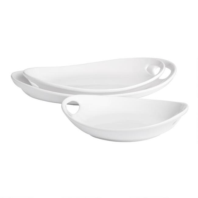 White Ceramic Serving Platter with Handles