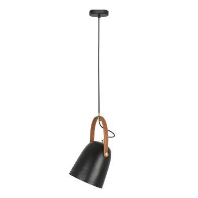Black Iron And Faux Leather Adjustable Miller Pendant Lamp