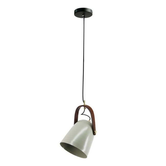 Gray Iron And Wood Adjustable Ollie Pendant Lamp