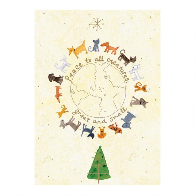 Animals Around The Globe Boxed Holiday Cards Set of 15