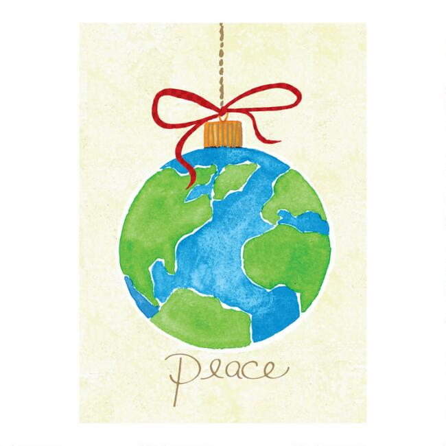 Peace Globe Ornament Boxed Holiday Cards Set of 20