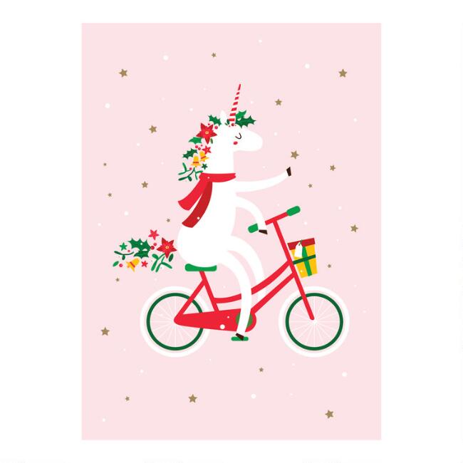 Unicorn on Bike Boxed Christmas Cards Set of 15