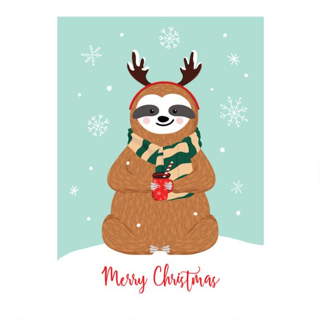 Sloth With Cocoa Boxed Christmas Cards Set of 15