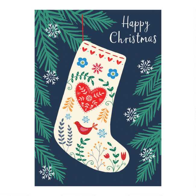 Name A Animal You Might See On A Christmas Card.Happy Christmas Stocking Boxed Christmas Cards Set Of 15