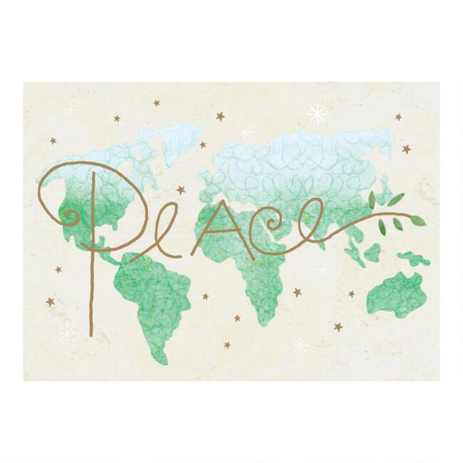 Peace Map Boxed Christmas Cards Set of 15