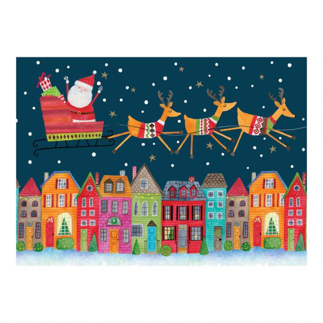 Santa's Sleigh Boxed Christmas Cards Set of 15