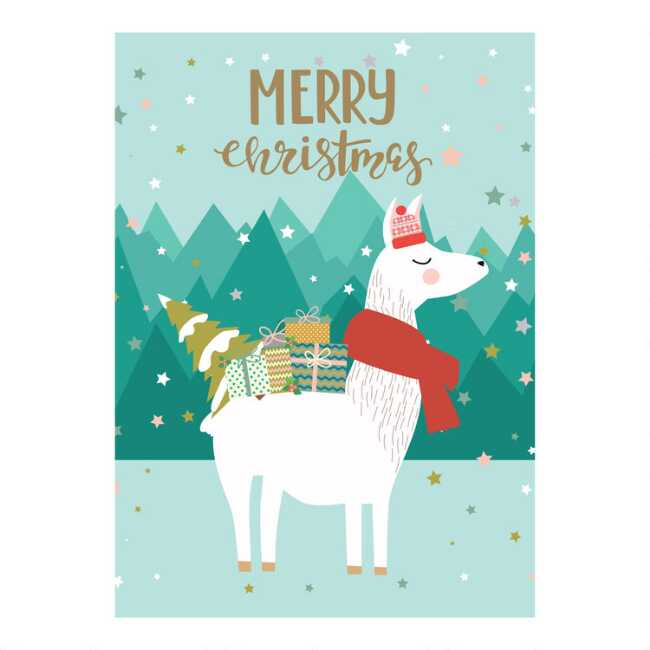 Name A Animal You Might See On A Christmas Card.Merry Christmas Llama Christmas Cards Set Of 15