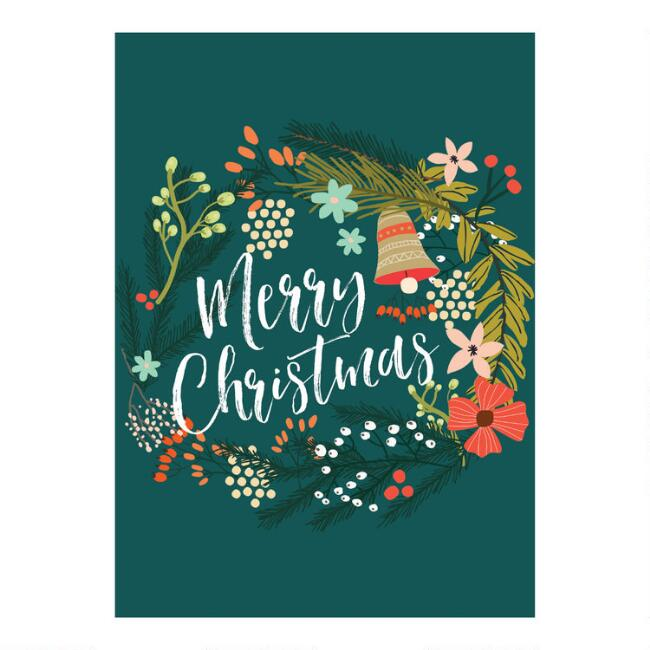 Floral Wreath Christmas Cards Set of 15