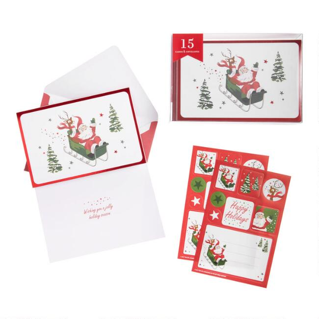 Santa And Rudolph On Sleigh Boxed Christmas Cards Set of 15