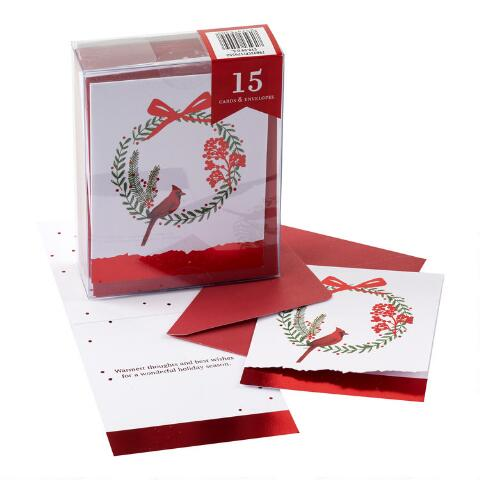 Boxed Christmas Cards.Bird On Wreath Boxed Holiday Cards Set Of 15