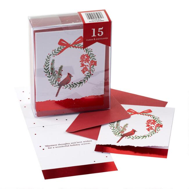 Bird On Wreath Boxed Holiday Cards Set of 15