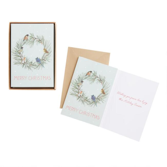 Birds On A Wreath Boxed Christmas Cards Set of 15