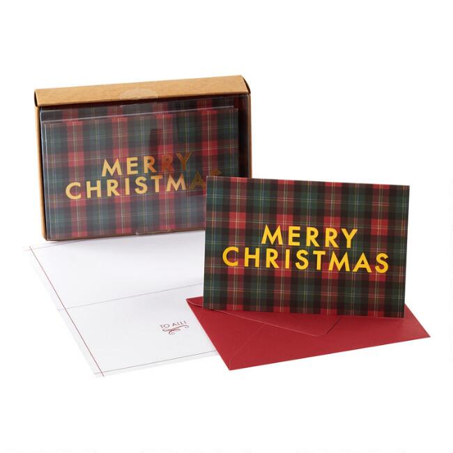 Plaid Merry Christmas Boxed Christmas Cards Set of 15
