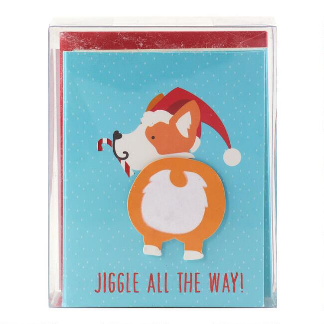 Corgi Jiggle All The Way Boxed Holiday Cards Set of 15