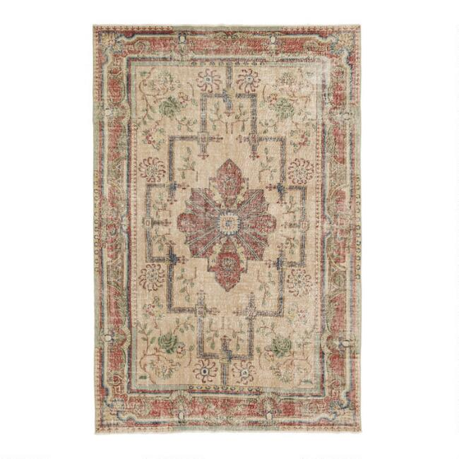Revival Rugs Beige and Red Wool Evencio Vintage Area Rug