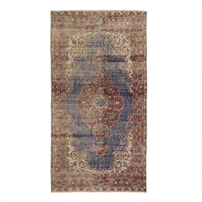 Revival Rugs Blue Wool Aherine Vintage Area Rug