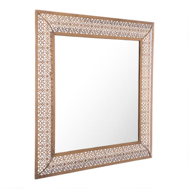 Square Antique Gold Moroccan Mirror
